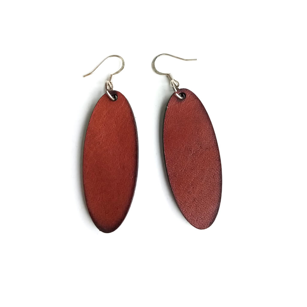 Leather Earrings - Oval - Chestnut