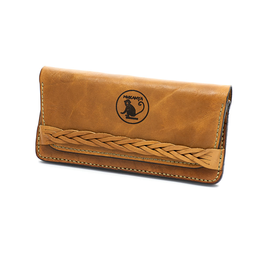 Leather Wallet - Plaited Band - Natural