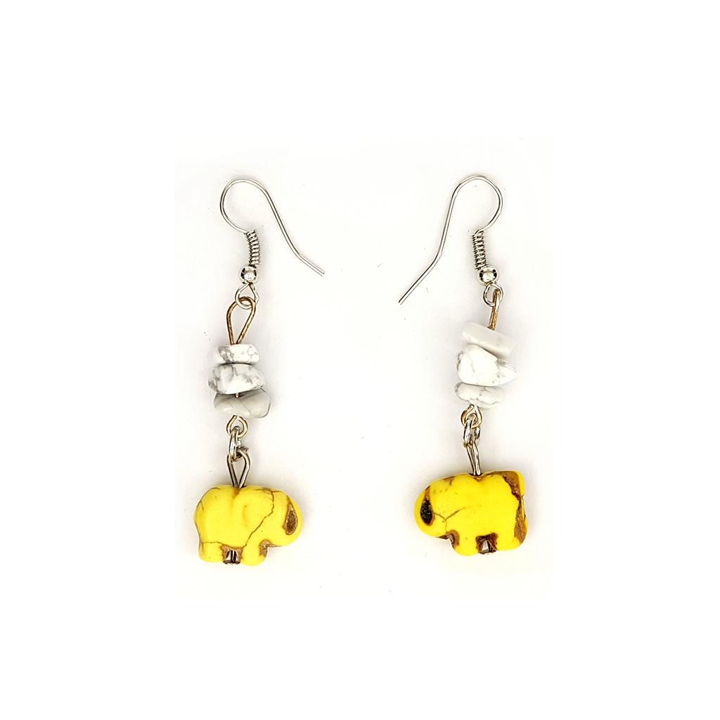 Earrings - Elephant Charm - Yellow