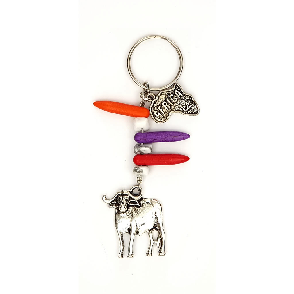 Keyring - Buffalo Charm and Beads
