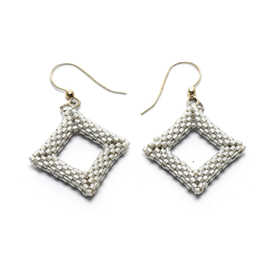 Earrings - Delicas Bead Open Diamond - Silver - Medium