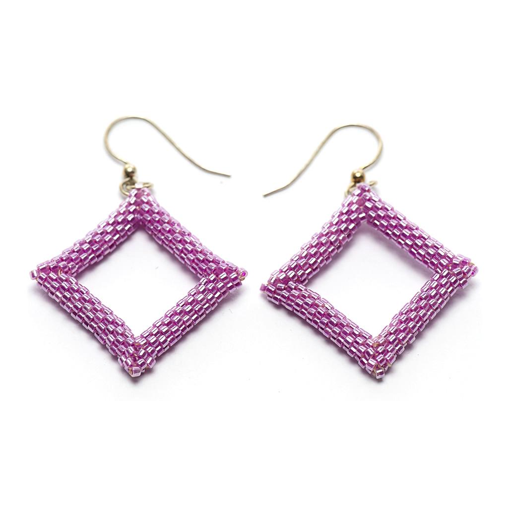 Earrings - Delicas Bead Open Diamond - Pink - Large