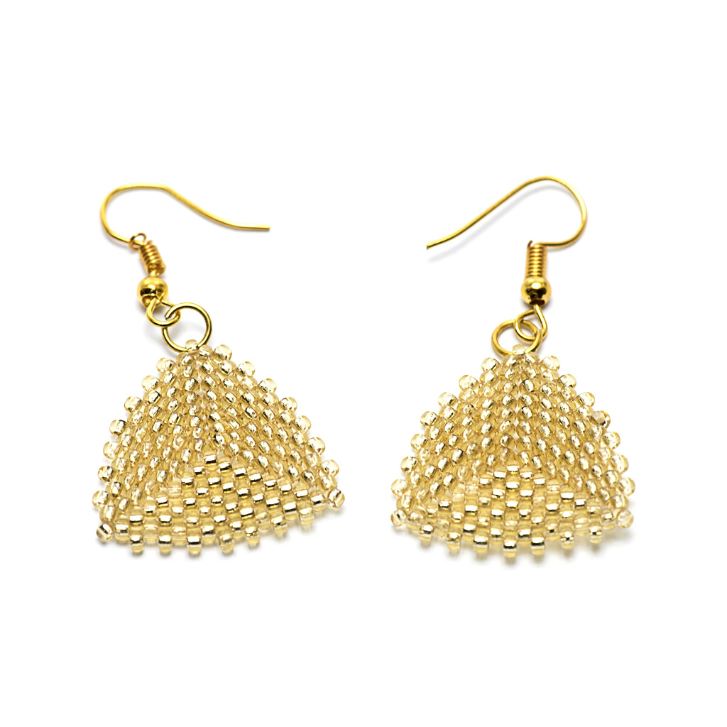 Earrings - Seed Bead Triangles - Gold - Medium