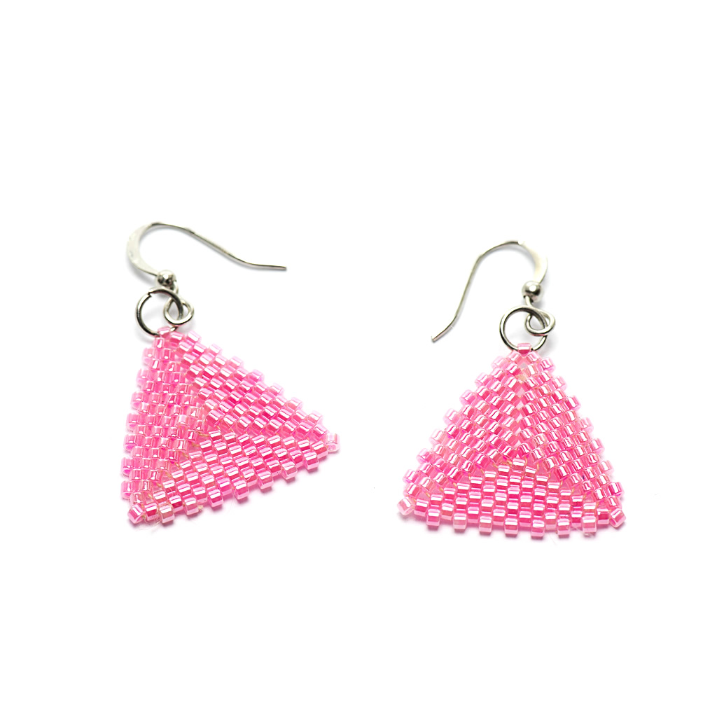 Earrings - Delicas Bead Triangles - Pink