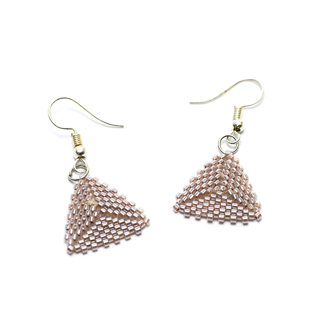 Earrings - Delicas Bead Triangles - Silver