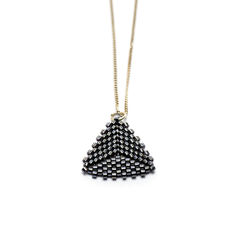Pendant - Delicas Bead Triangle - Black