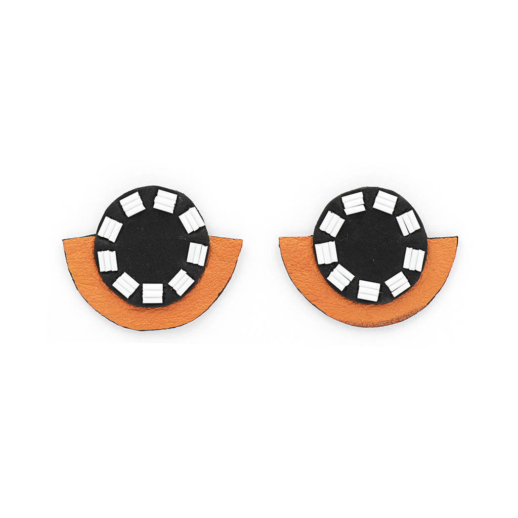 Earrings - Indwe Half Moons - Leather - Black and Apricot