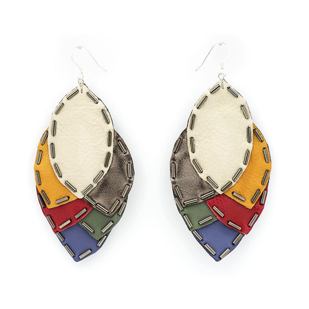 Earrings - Indwe Igqabi - Leaf - Leather - White