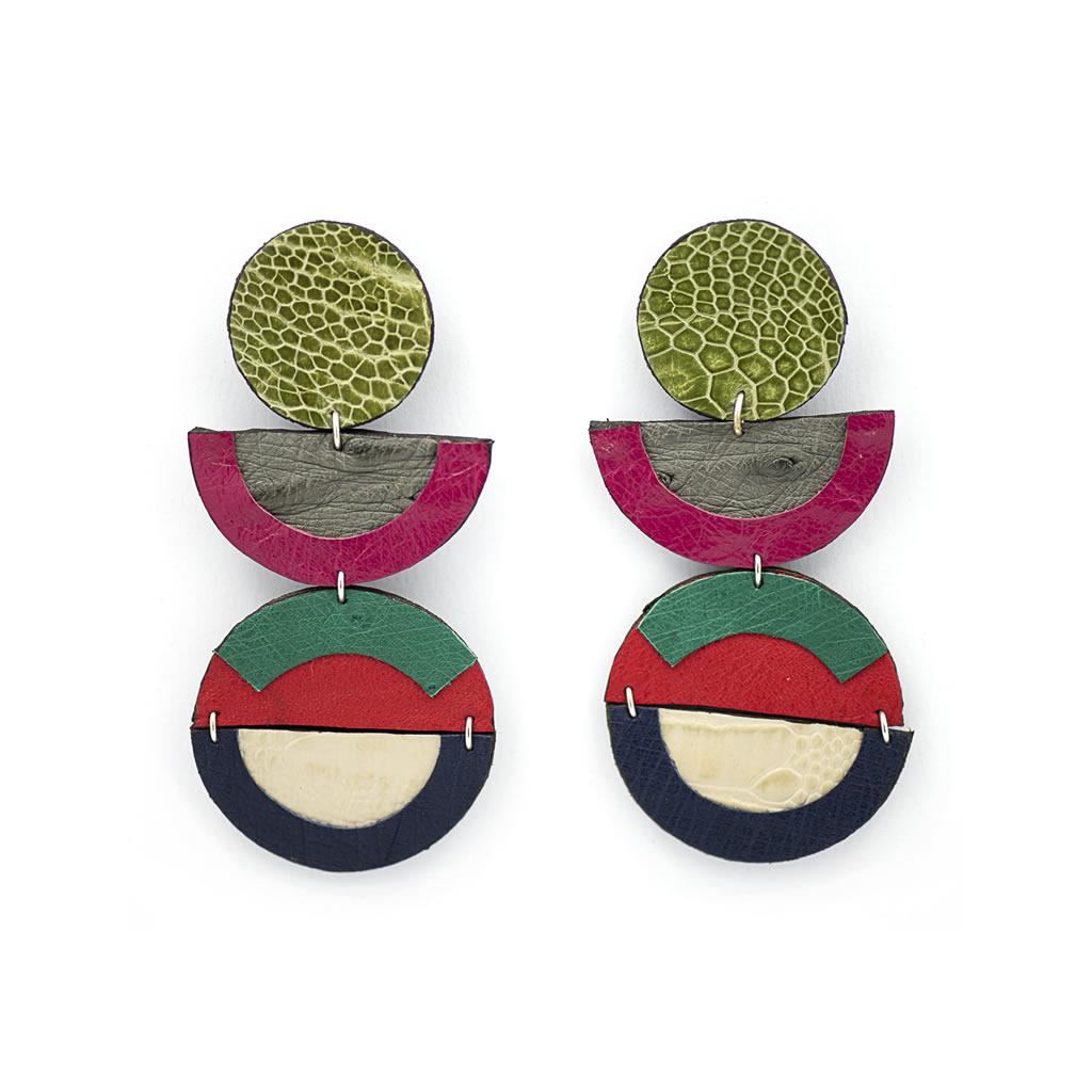 Earrings - Indwe Inyanga Drops - Pink Orange