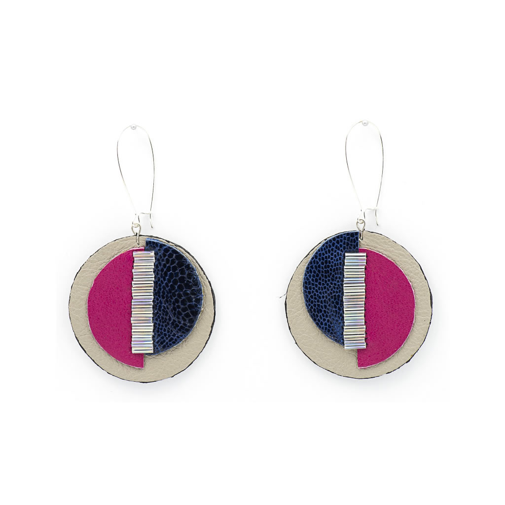 Earrings - Indwe Moon Phases - Leather - Pink