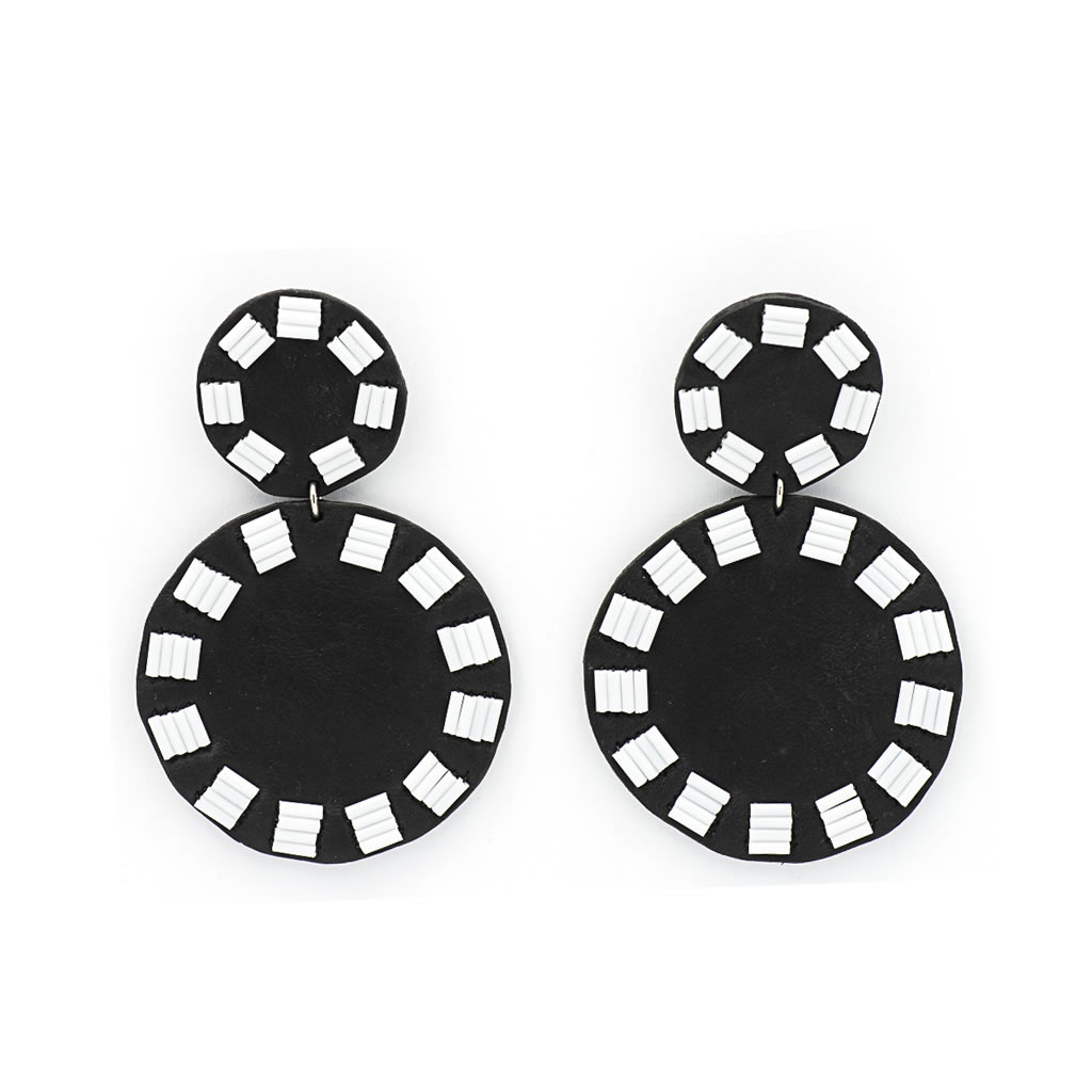 Earrings - Indwe Solid Circle Drops - Leather - Black and White
