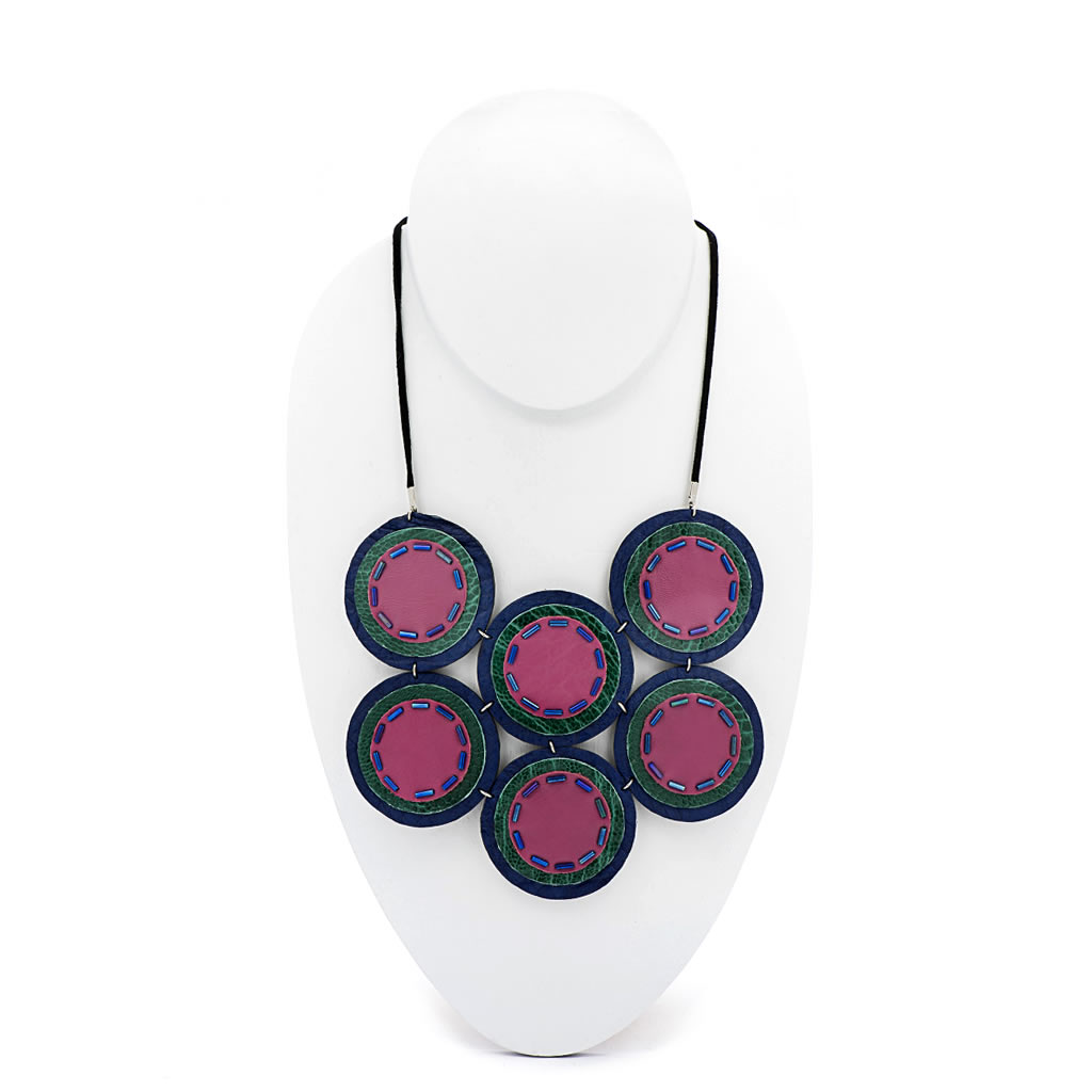 Neckpiece - Indwe Full Moon - Leather - Pink