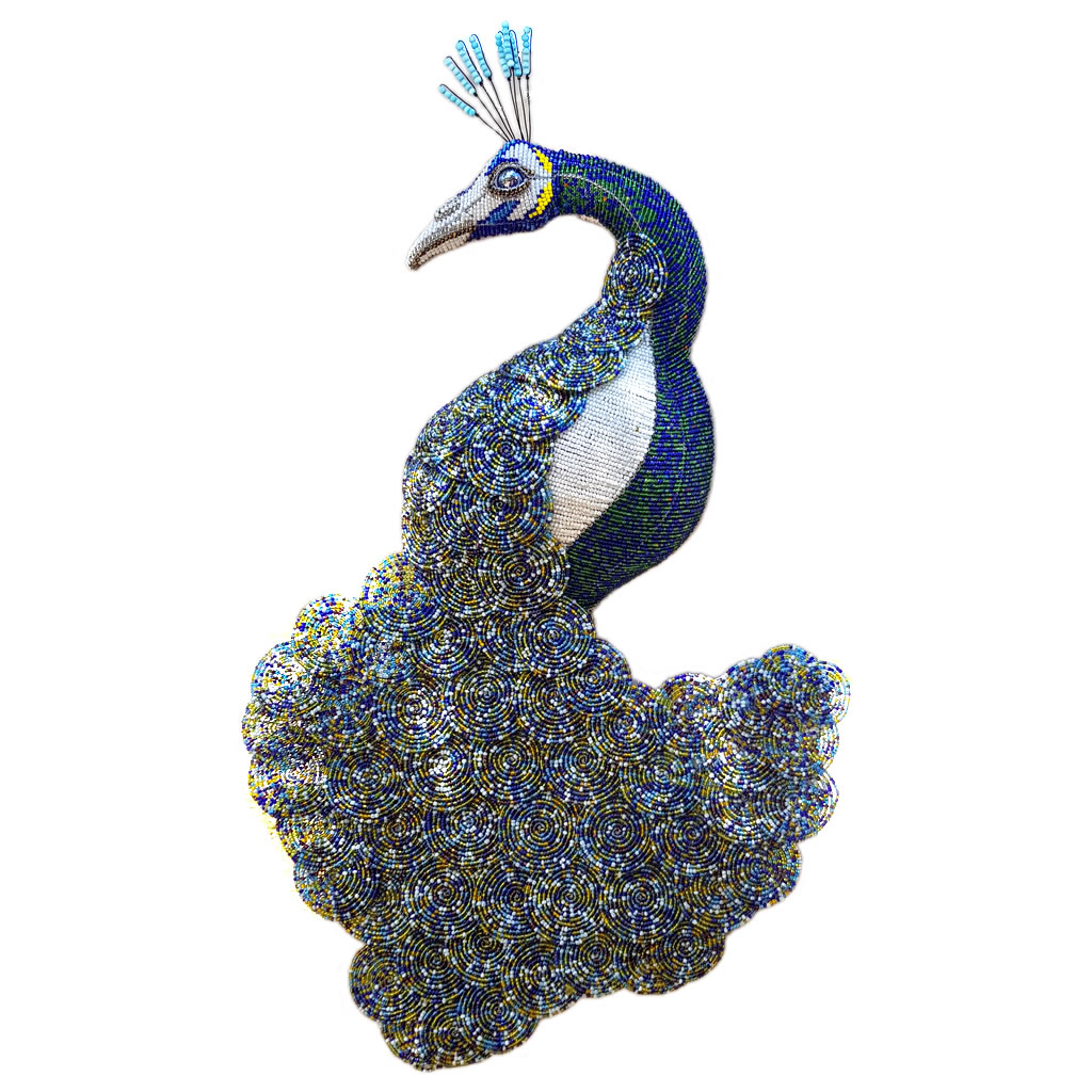 Peacock - Beaded Wirework 2D - Large