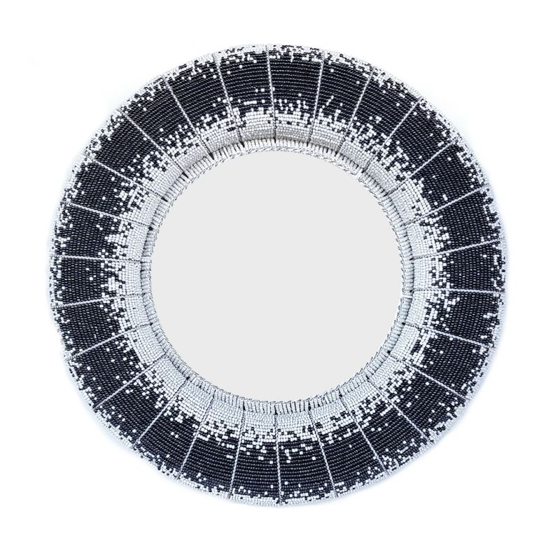 Mirror - Beaded Wirework - Grey Round Large