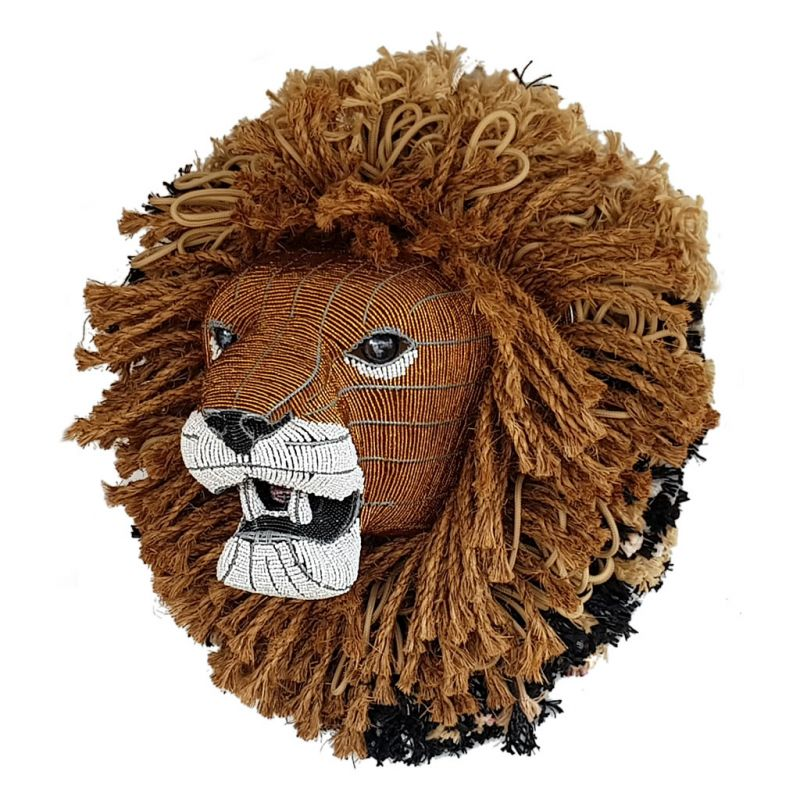 Lion - Bead Trophy Head - Gold Rope Mane