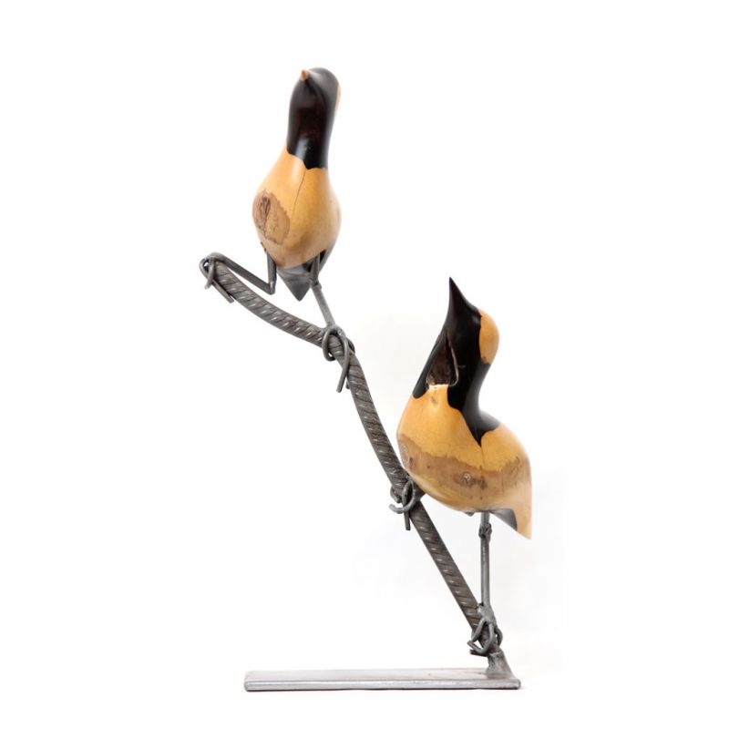 Birds on Branch - Ebony Wood - Small