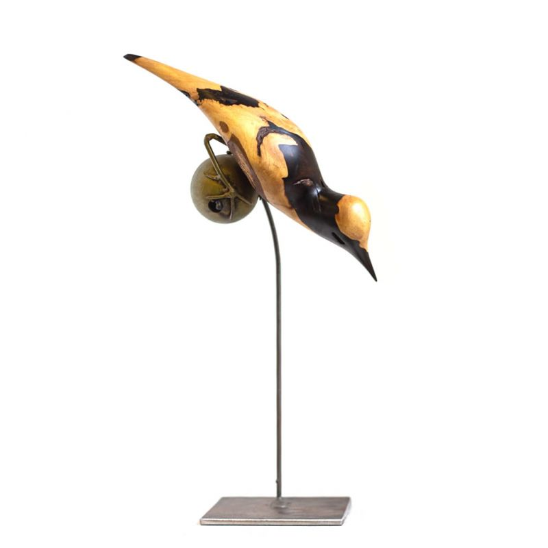 Bird on Wire Stand - Ebony Wood - Small