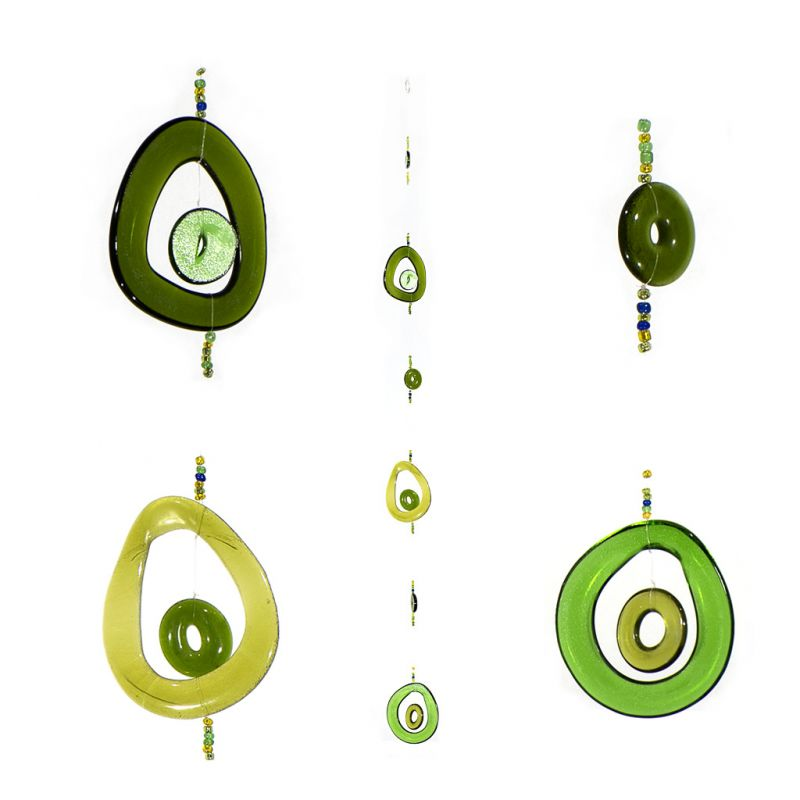 Wind Chime - Recycled Green Glass