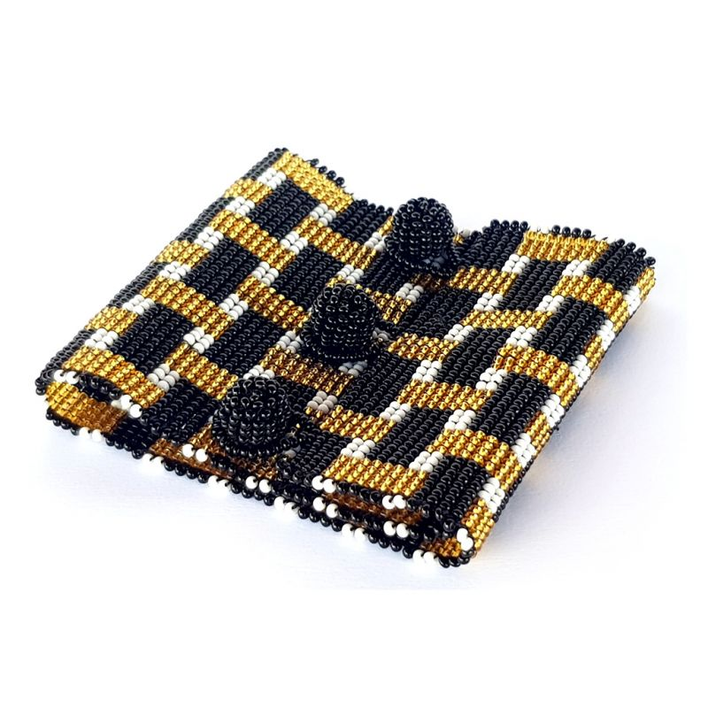 Bracelet - Woven Beads - Extra Wide Checks