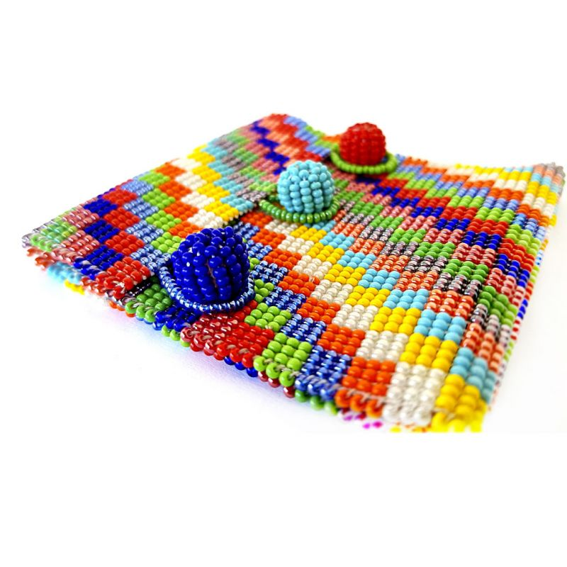 Bracelet - Woven Bead - Wide Bright Squares