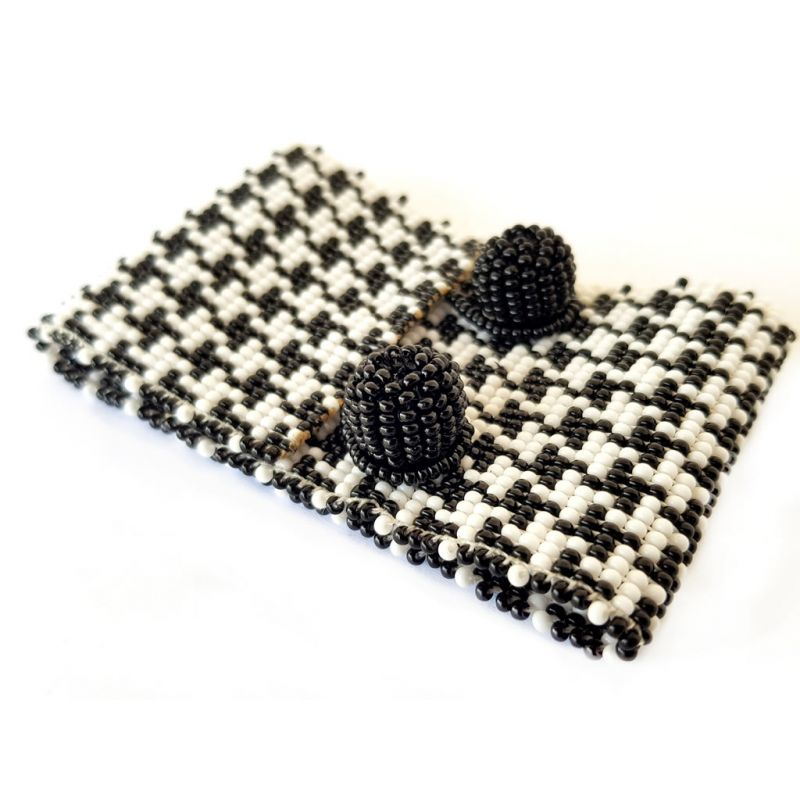Bracelet - Woven Bead - Medium Houndstooth BW