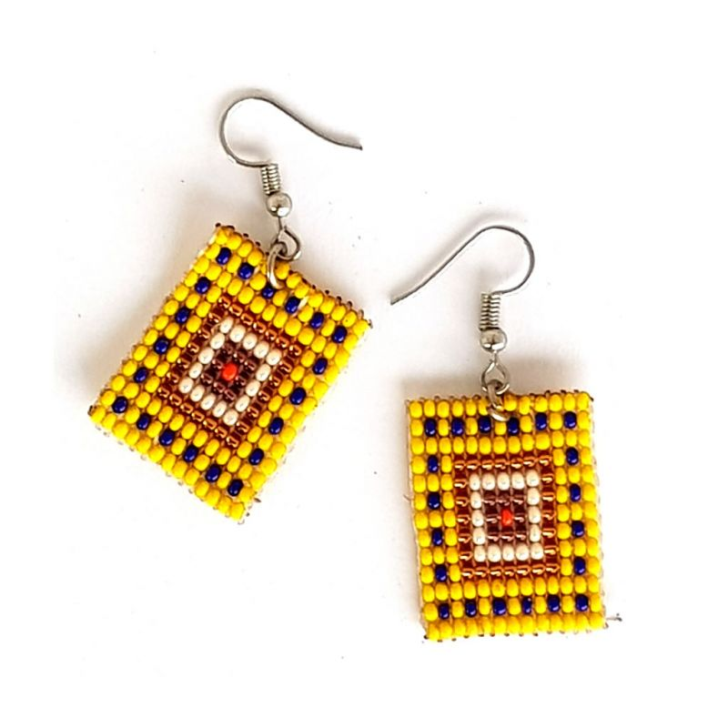 Earrings - Woven Bead - Square Yellow
