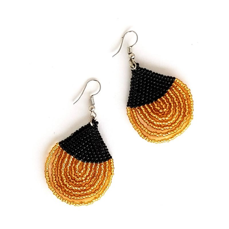 Earrings - Woven Bead - Teardrop Gold