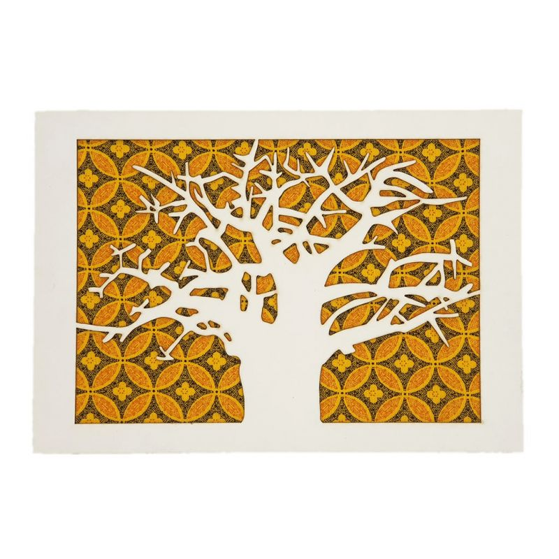 Lasercut Art - Baobab Tree - Yellow Shweshwe A5
