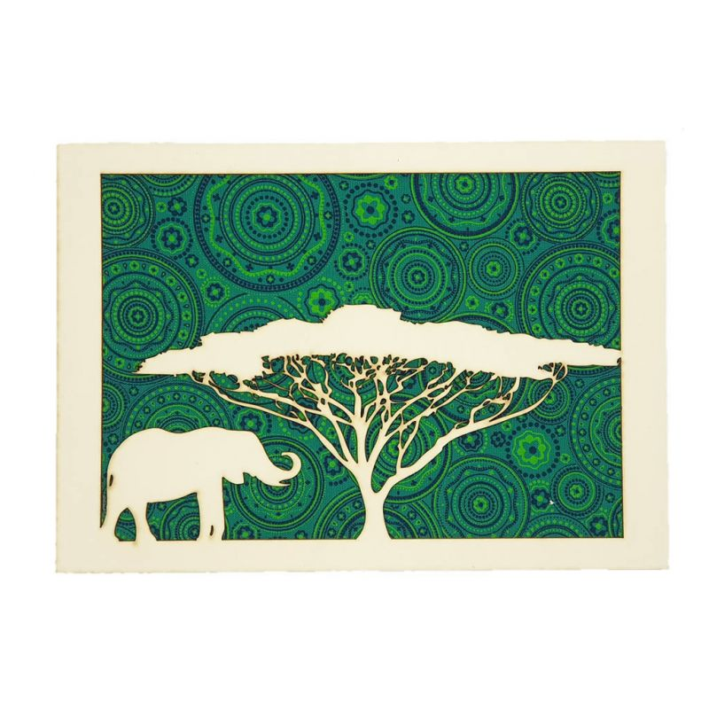 Lasercut Art - Acacia Tree & Elephant - Green Shweshwe A5
