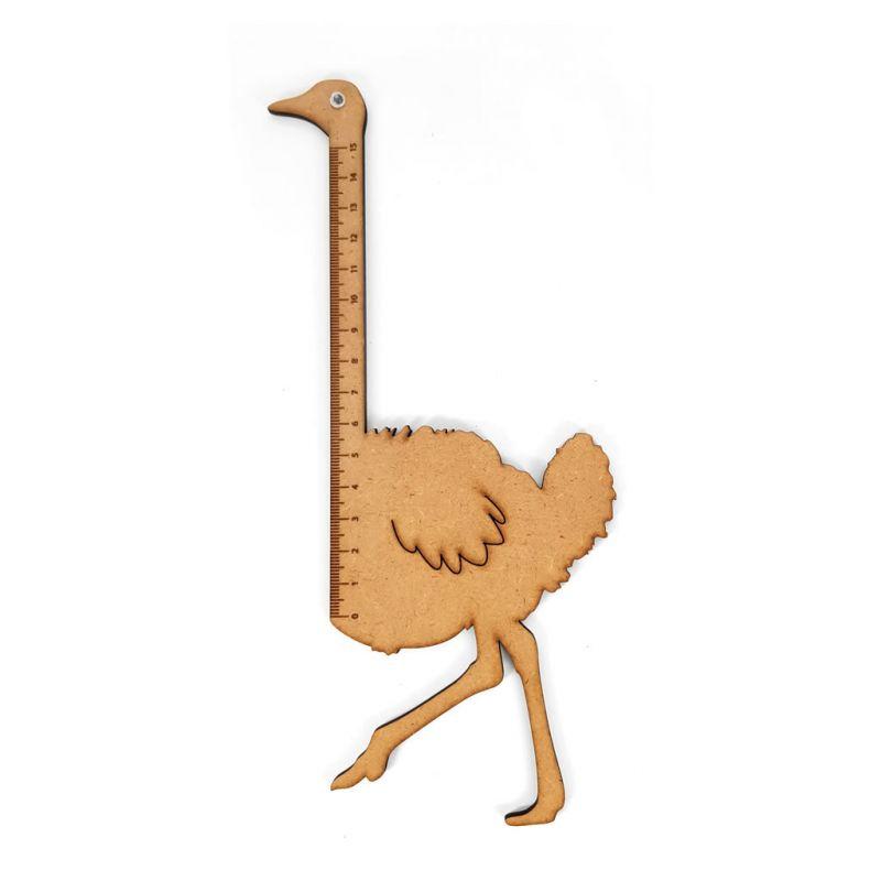 Ruler - Ostrich - Wood