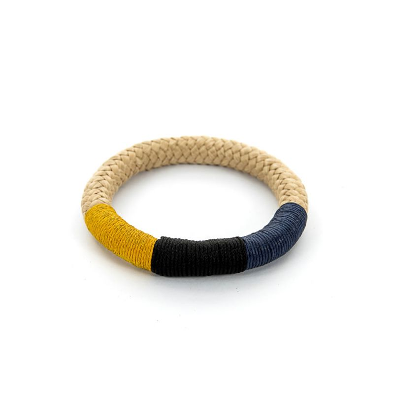 Bracelet - African - Beige Rope - Blue & Yellow