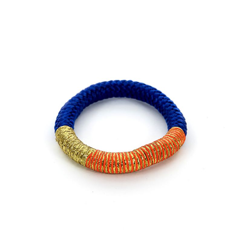 Bracelet - African - Blue Rope - Gold & Orange