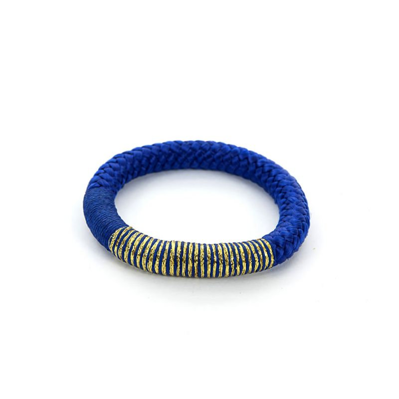 Bracelet - African - Blue Rope - Gold Thread