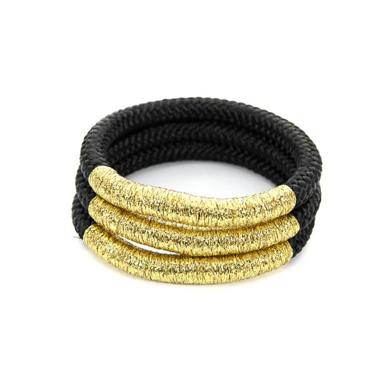 Bracelet - Double African - Black Rope - Gold Thread