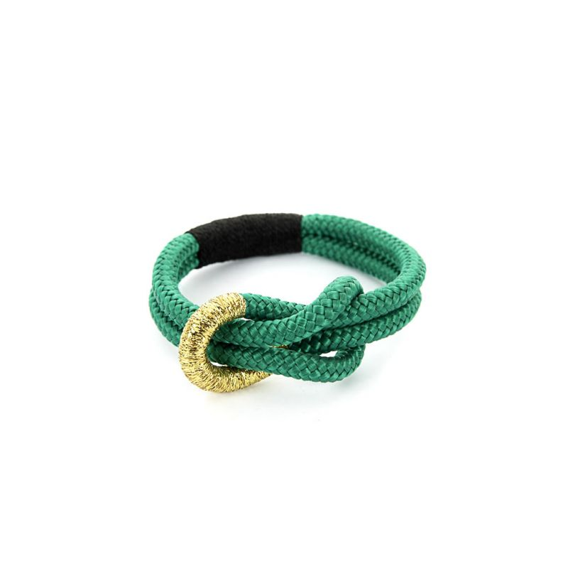 Bracelet - Knotted Green Rope - Gold Thread