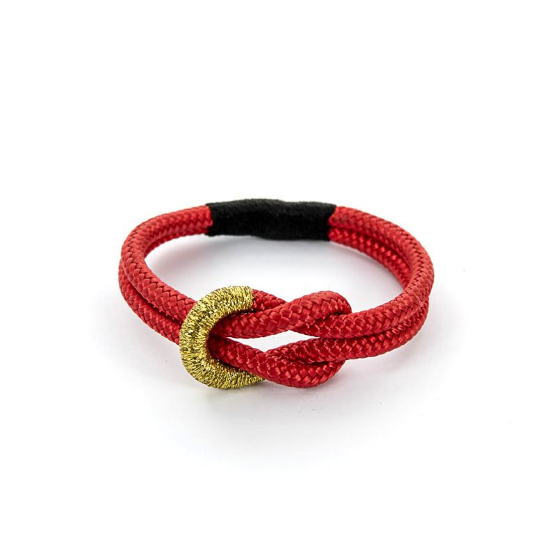 Bracelet - Knotted Red Rope - Gold Thread