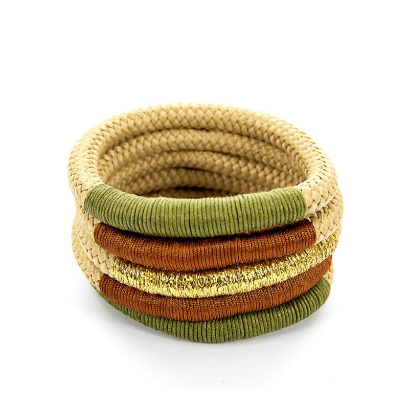 Bracelet - Temmy - Beige Rope - Green, Rust, Gold