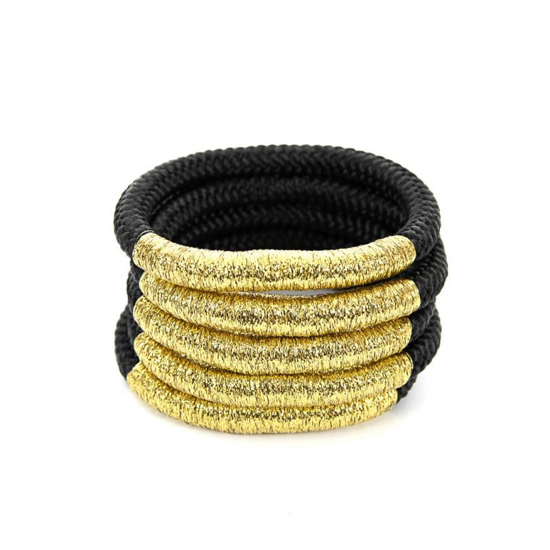 Bracelet - Temmy - Black Rope - Gold Thread