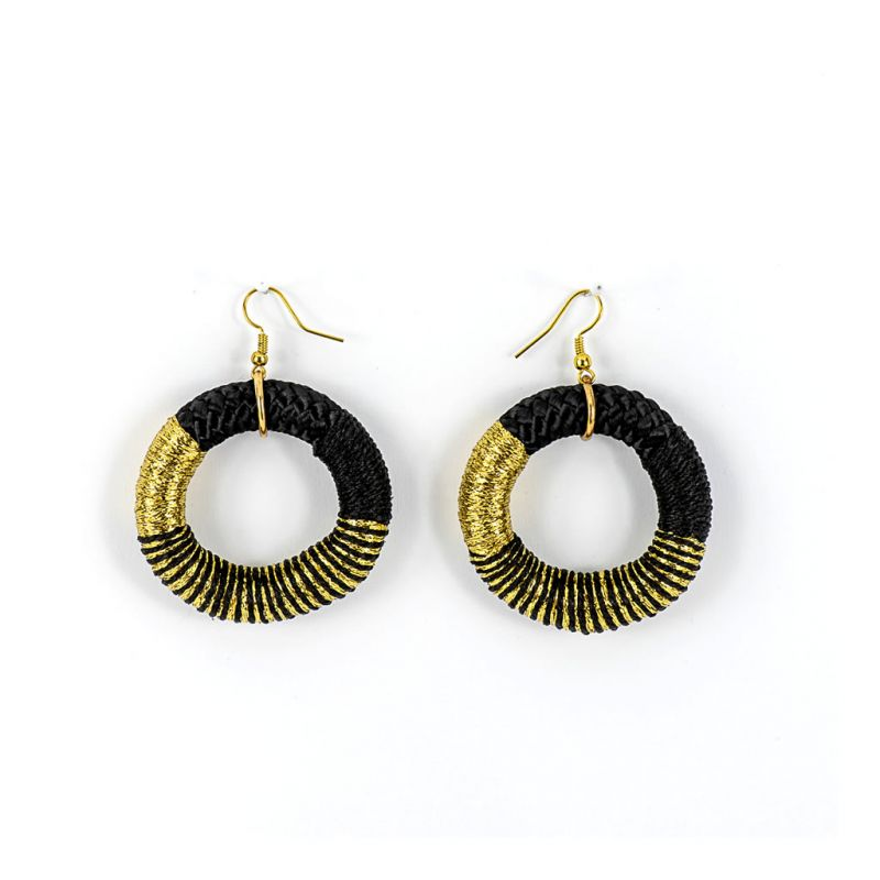 Earrings - Chipantha - Black Rope - Gold Thread
