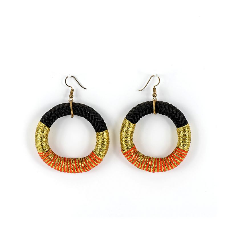 Earrings - Chipantha - Black Rope - Gold & Orange