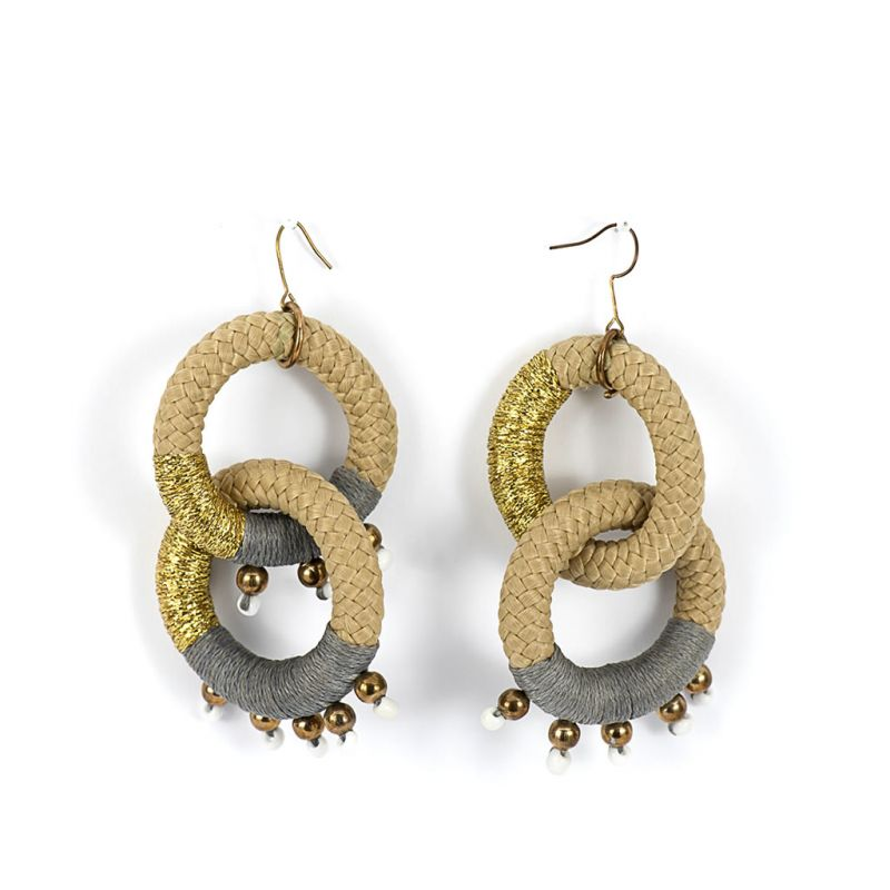 Earrings - Jane - Beige Rope - Grey Thread