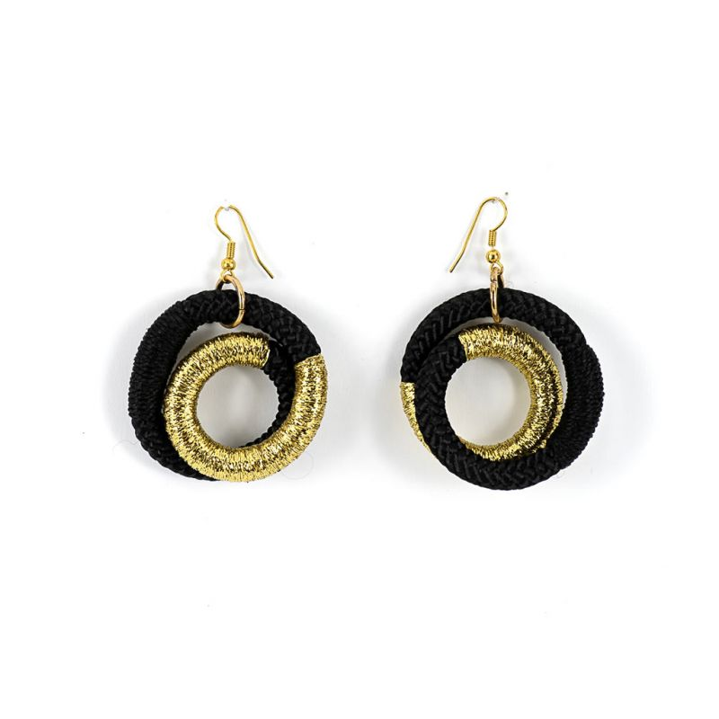 Earrings - Mama Africa - Black Rope - Gold Thread