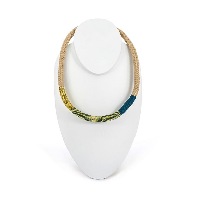 Necklace - African - Beige Rope - Gold & Blue