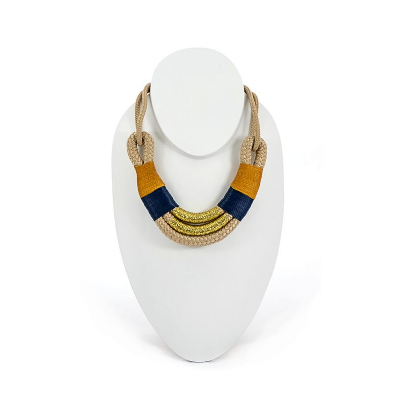 Necklace - Awa - Beige Rope - Gold, Mustard & Blue
