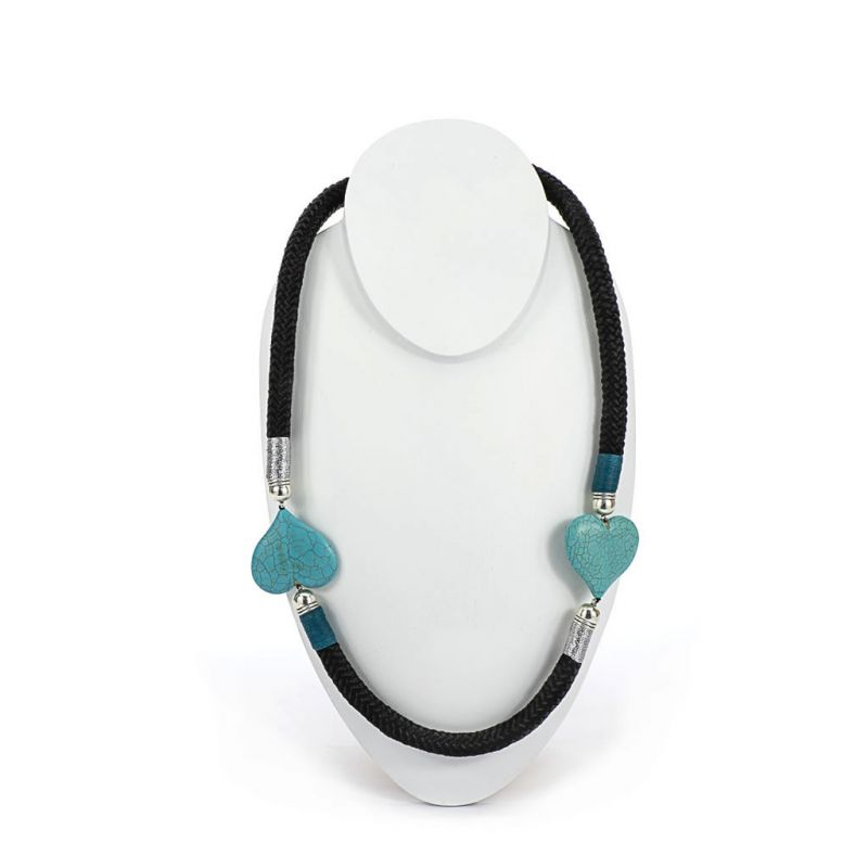 Necklace - Nakupenda - Black Rope - Turquoise Hearts