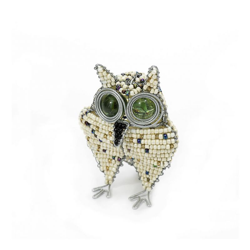 Owl - Bead & Wire - Small White