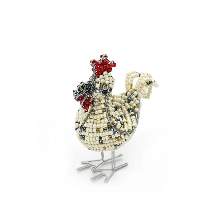 Rooster - Bead & Wire - Small White