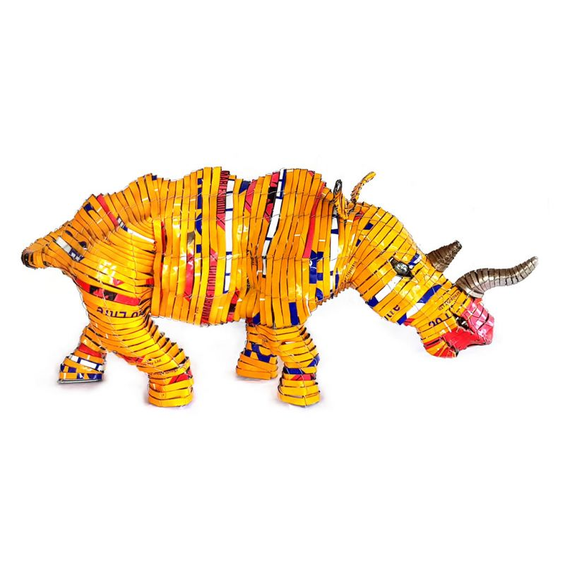 Rhinoceros - Freestanding Sculpture in Yellow - Small