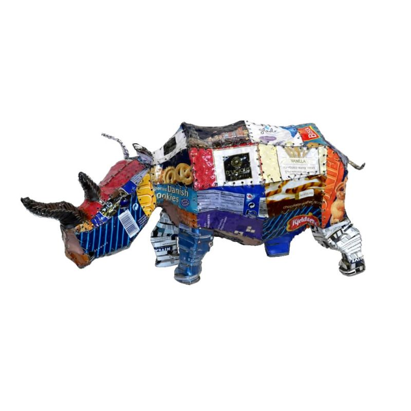 Rhinoceros - Freestanding Patchwork Sculpture - Small
