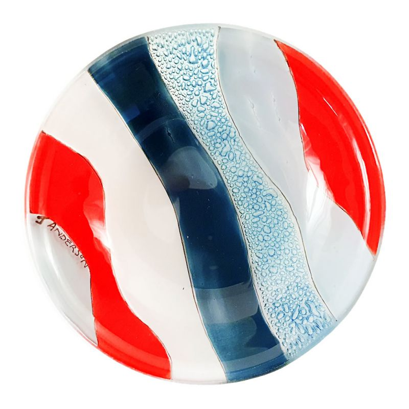 Glass Bowl - Abstract - Blue Red
